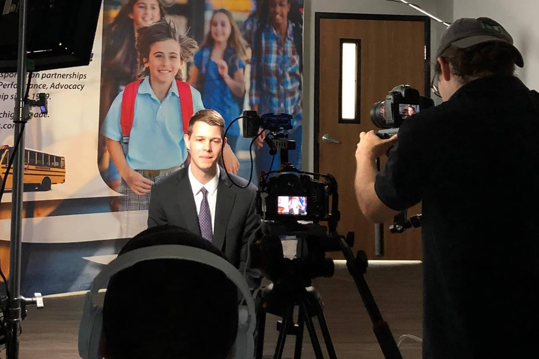 Picture showing a professional, business video shoot